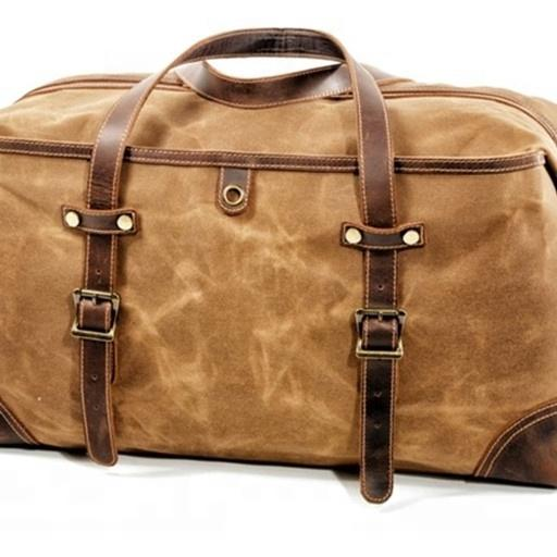 New design 210D Lining canvas unisex travel bag with leather hand handle