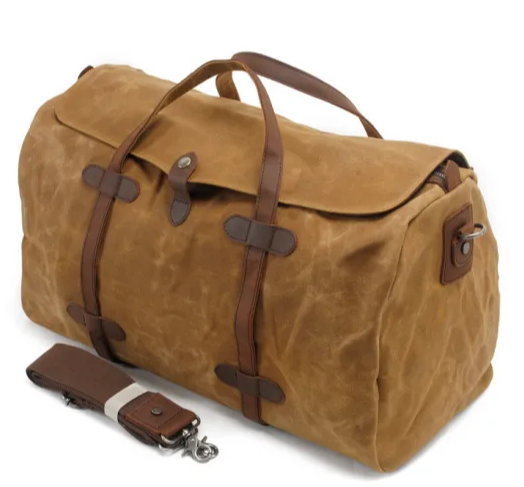 High Quality Canvas Leather Handle Duffel Weekend Bag Waterproof Outdoor Sports Single ShoulderBag