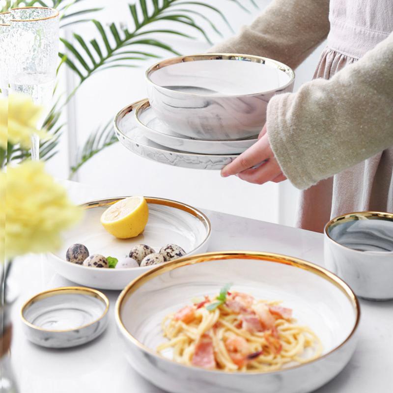 Latest Product Gold Rim Large Ceramic Soup Bowls, Hotel China Ware Gold Rim Japanese Soup Bowl, Japanese Soup Bowl&