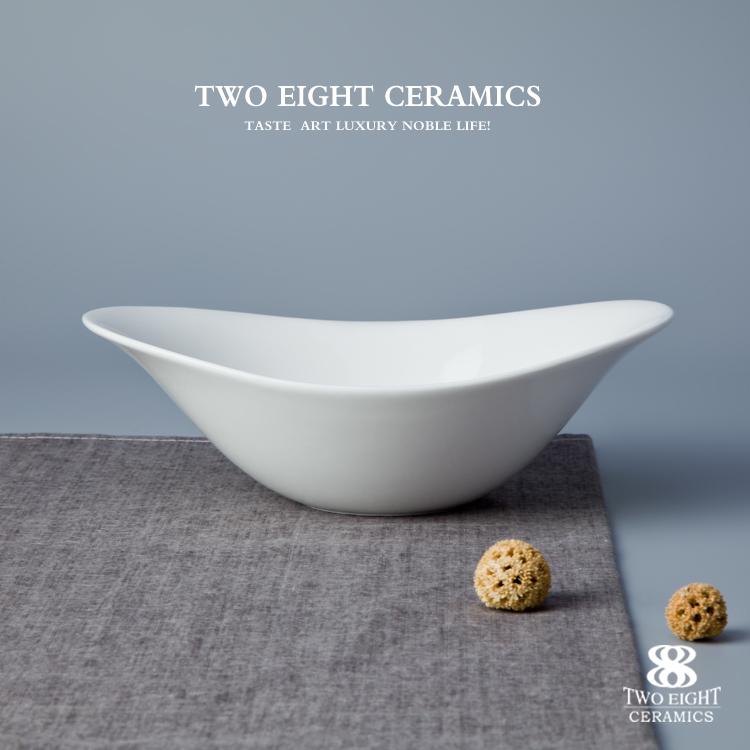 Personalized bowl set different size of unique oval salad ceramic bowl