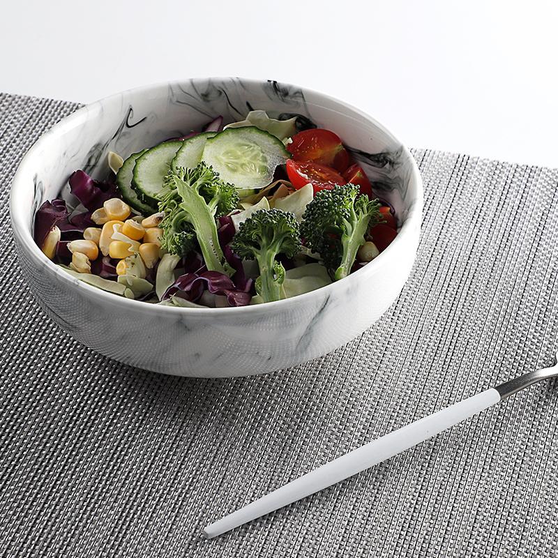 Factory Elegance White Porcelain Unique Salad Bowls, Marble Soup Bowl, Restaurant Ceramic Large Marble Bowl