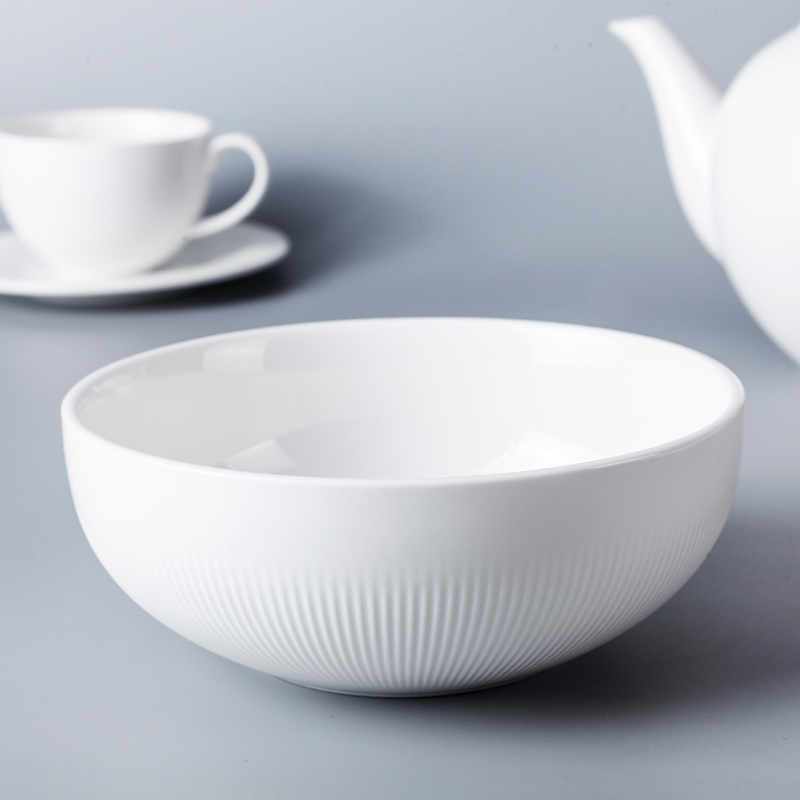 2019 New Collection European Style Ceramic Bowl, White Round Banquet Soup Bowl/