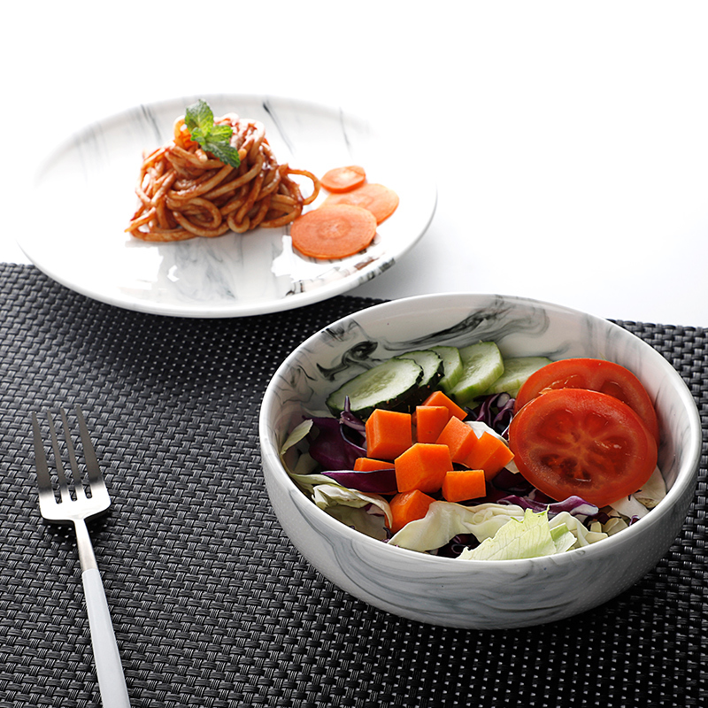 Dinnerware Supplier Hot Sale Porcelain Unique Salad Bowls, Restaurant Ceramic Marble Salad Bowl