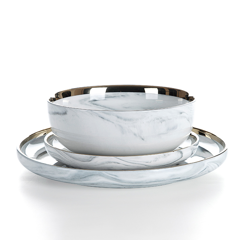 2019 Trending Products Gold Rim Grey High Quality Marble, Hotel China Ware Gold Rim Grey Luxury Marble, Soup Bowl Japan#