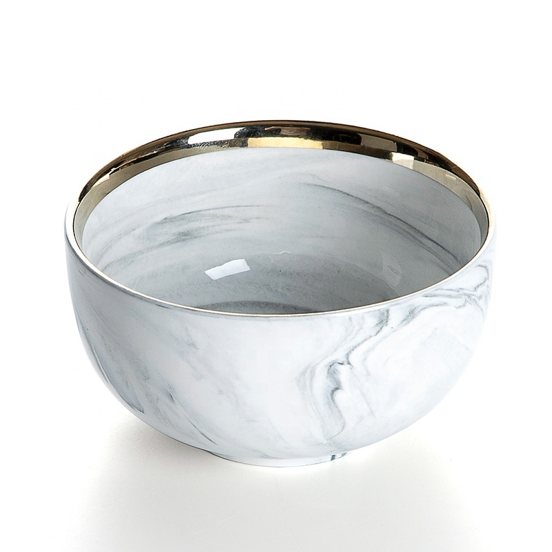 Latest Product Gold Rim Porcelain Bowl, Hotel Supplies Gold Rim Grey High Quality Marble, Bowl Ceramic Restaurant#