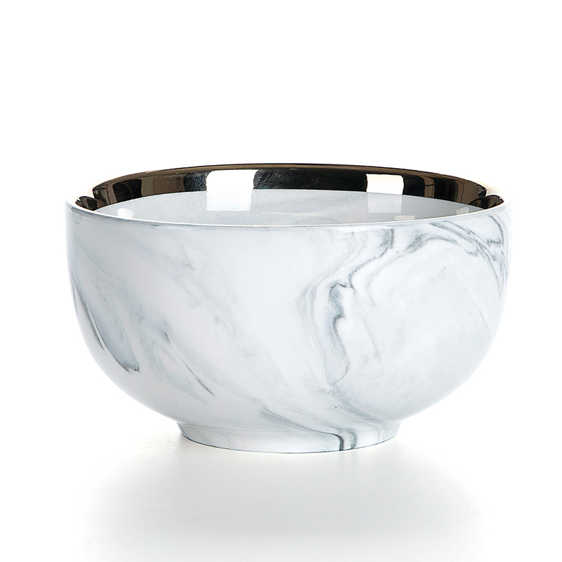European Gold Rim Ceramic Salad Bowl, Hotel Supplies Gold Rim Grey Luxury Marble, Best Selling Gold Rim Restaurant Bowl&