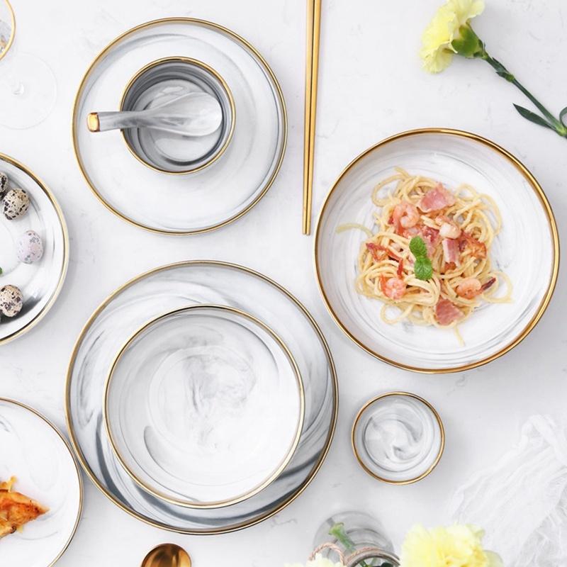 European Gold Rim Grey High Quality Marble, Restaurant Supplies Gold Rim Japanese Soup Bowl, Large Ceramic Soup Bowls&