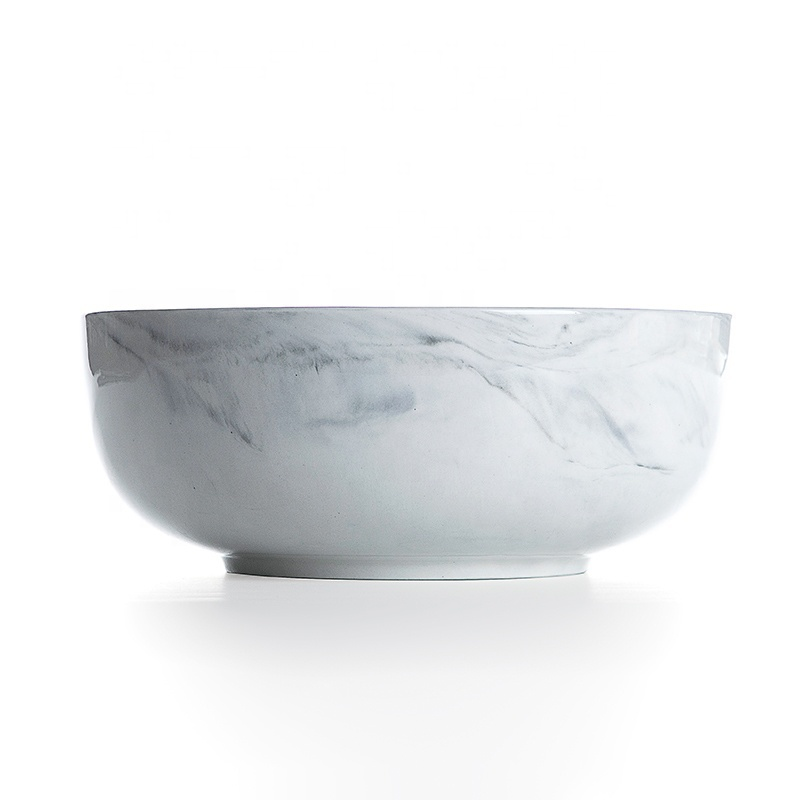 Hotel Supplies Gold Rim China Soup Bowl, Latest Product Gold Rim Grey Tableware Marble, Salad Bowl~