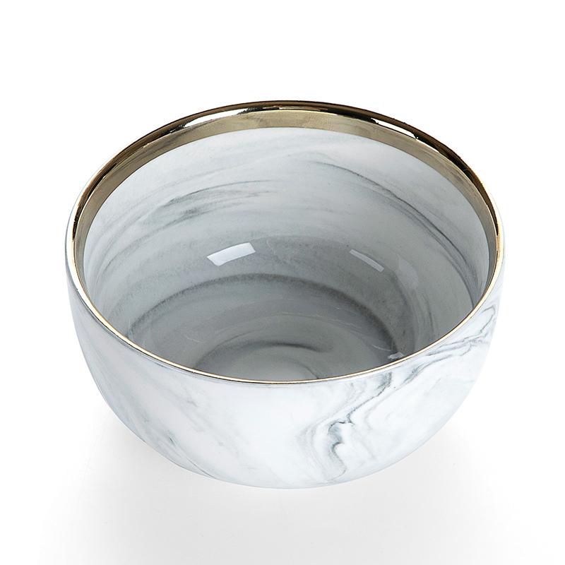European Gold Rim Ceramic Salad Bowl, Hotel Supplies Gold Rim Grey Luxury Marble, Best Selling Gold Rim Restaurant Bowl&