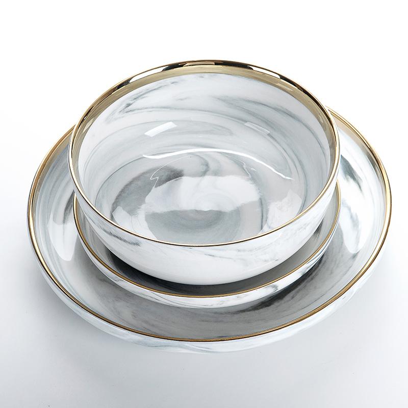 Hotel China Ware Gold Rim Soup Bowl Salad Bowl, Restaurant Supplies Gold Rim China Soup Bowl, Ceramic Ramen Soup Bowl%