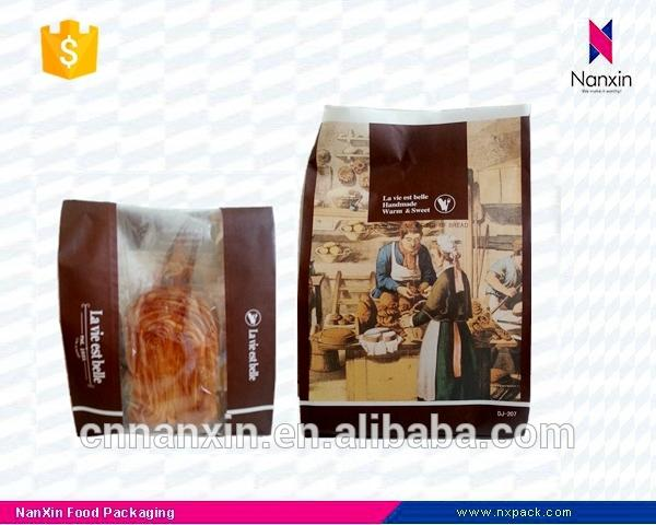 kraft paper bread packaging side gusset bag with window
