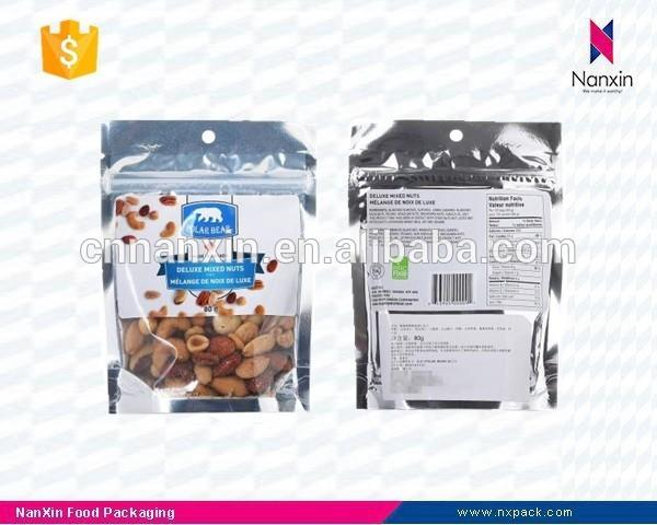 doypack customizable nuts ziplock stand up bag with window