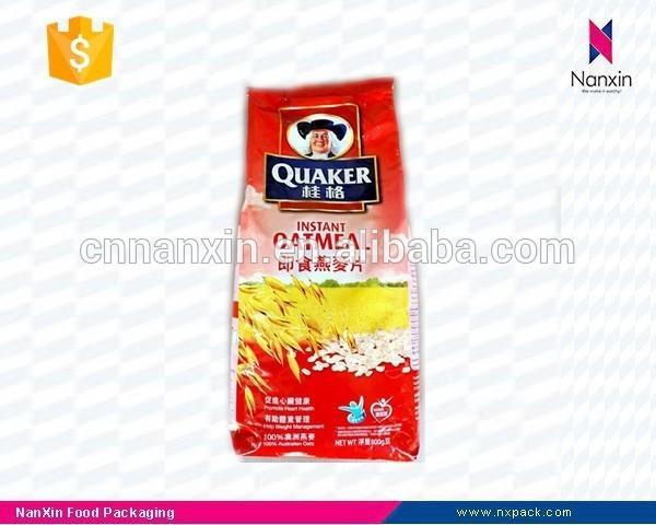 plastic instant oatmeal packaging side gusset bag