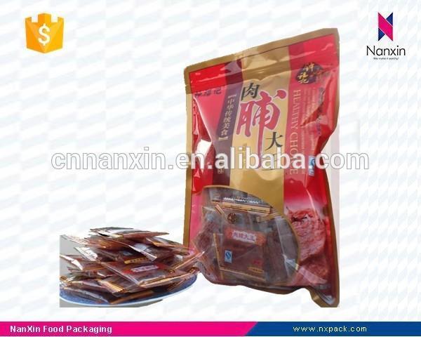 plastic pork jerky packaging bag with zipper