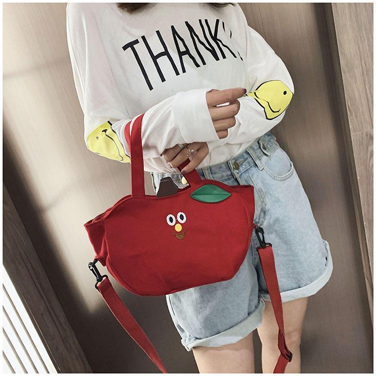 2020 New Cute Girl Mini Bag Korean Style One-Shoulder Handbag Student Sling Mobile Phone Canvas Bag Banana Apple Style Bag
