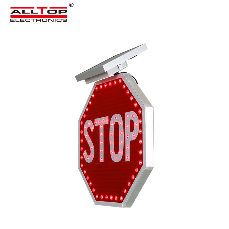 ALLTOP led flashing traffic warning solar panel powered road safety signs with reflective film