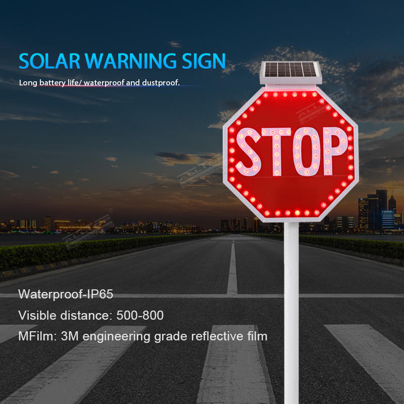 Custom outdoor solar road construction safety led warning sign