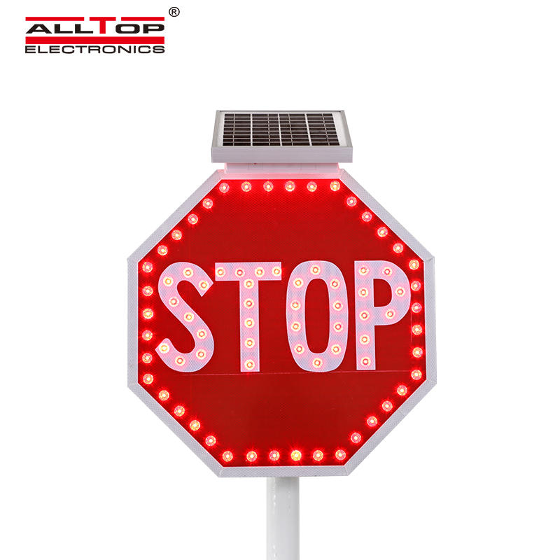 New design LED flashing round signs traffic solar powered warning sign