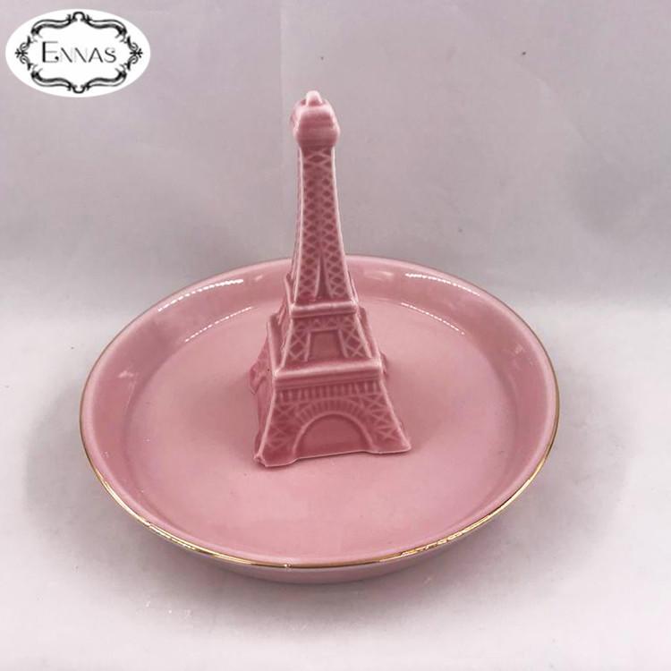 Ceramic Crafts Eiffel Tower Ceramic Jewelry Tray Home Decor