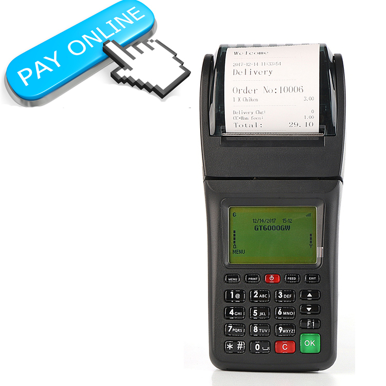 Handheld WIFI POS GPRS Mobile POS Terminal With Printer for Online orders or Mail orders