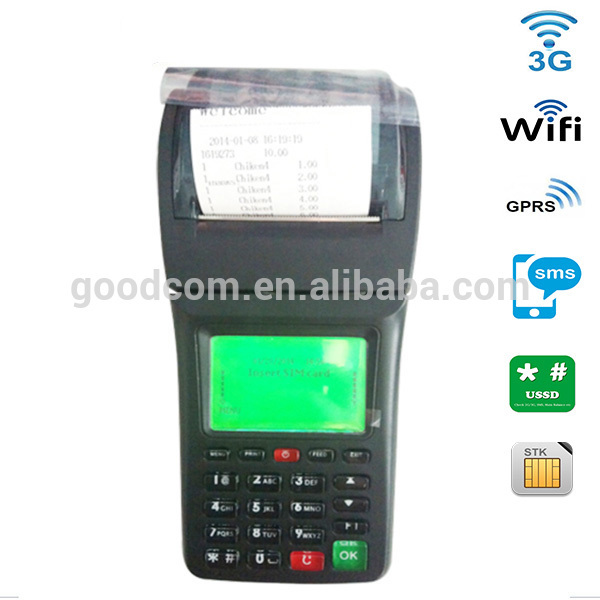 customizable bill payment machine for restaurant online order printing by default via 3G WIFI