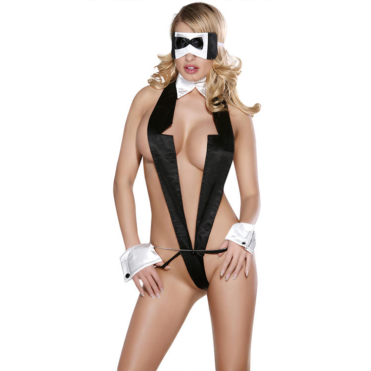 Sunspice sexy japanese teacher costume naughty girl Deep-V-Neck black teddy Erotic sexy costume with tuxedo lapel and mask
