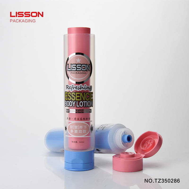 60ml candy shape outlet cosmetic plastic dual liquid hand cream cosmetic tube with flip top cap