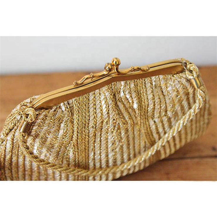 2019 New Arrivals Vintage Gold Woven Satin Evening Clutch Bag For Ladies