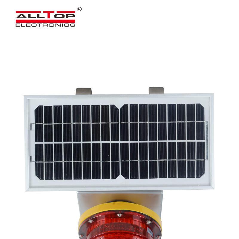 ALLTOP Aluminum solar powered LED Warning Light Flashing Red Traffic Indicator Light