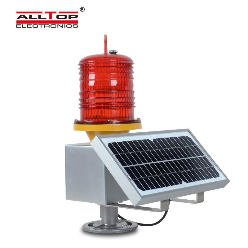 ALLTOP Aluminum solar powered LED Warning Light Flashing Red Traffic Indicator Light