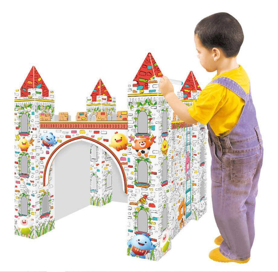 custom wholesale hot sale educational diy painting paper houses toys corrugated folding cardboard train playhouse for kids