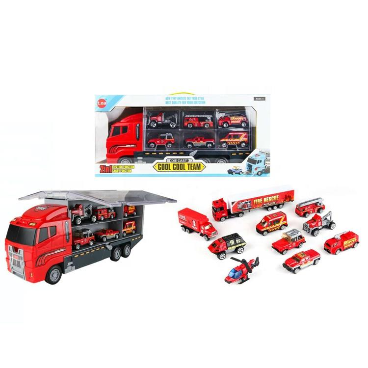 Top selling kids diecast fire vehicles set model transport toy container truck