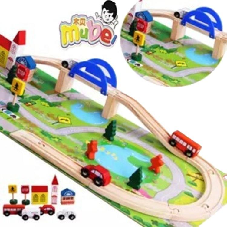 40pcs New style traffic scence combination toy innovative children toys wooden train track toy set