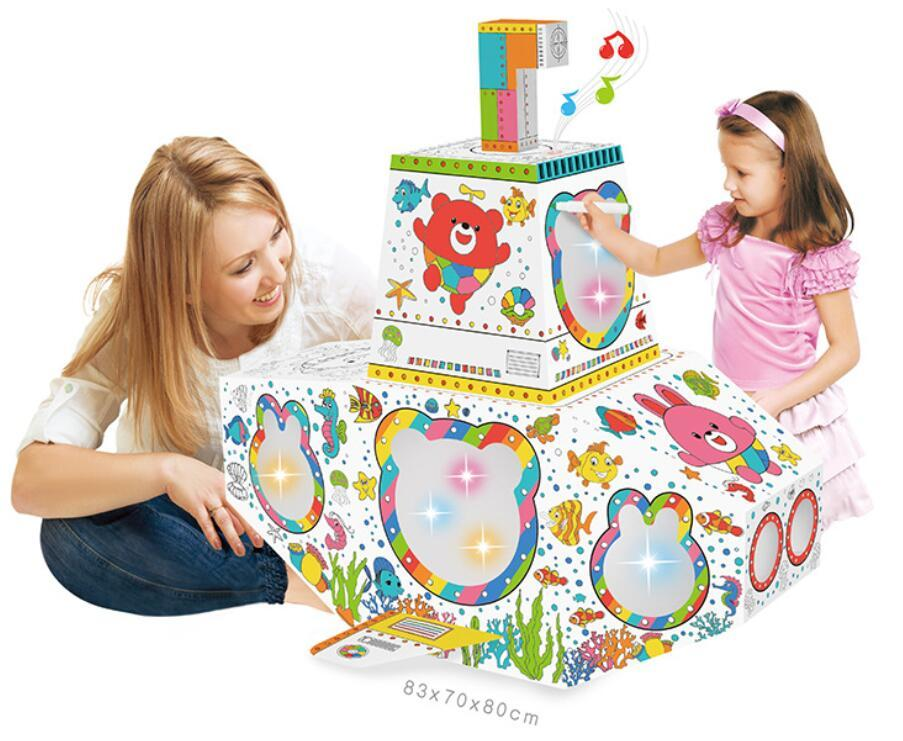 factory custom OEM color your own palyhouse ,cottage, diy cardboard kids foldable playhouse