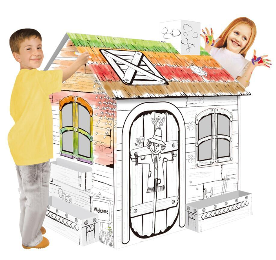 wholesale factory supply custom OEM children paintable toy paper crafty cottage kids foldable playhouse