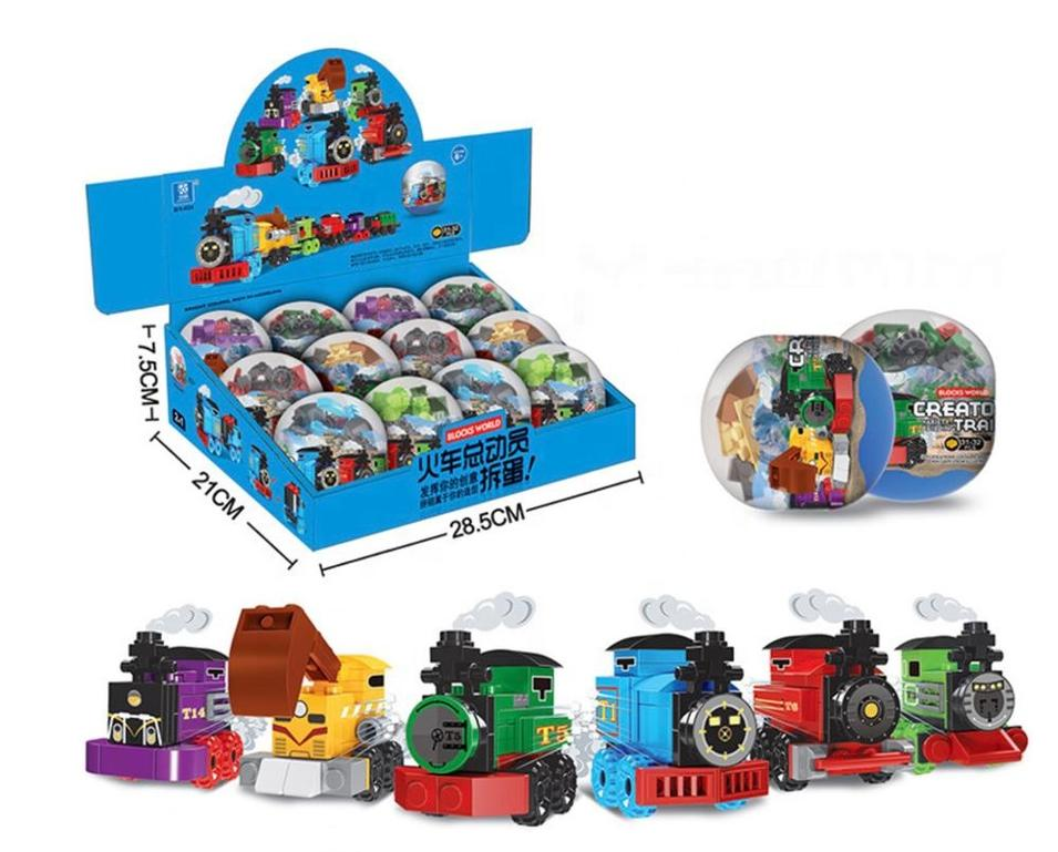 Mini train story 6-in-1 surprise egg capsule changeable puzzle building block toy