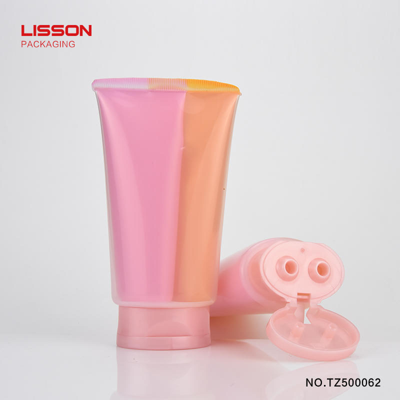 Customized Cosmetics Cleanser Cream Plastic Oval Double Packaging Tube With Double Hole Flip Top Cap