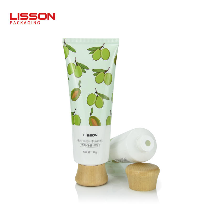 70g empty recycled facial cleanser tubes packaging with wooden screw cap