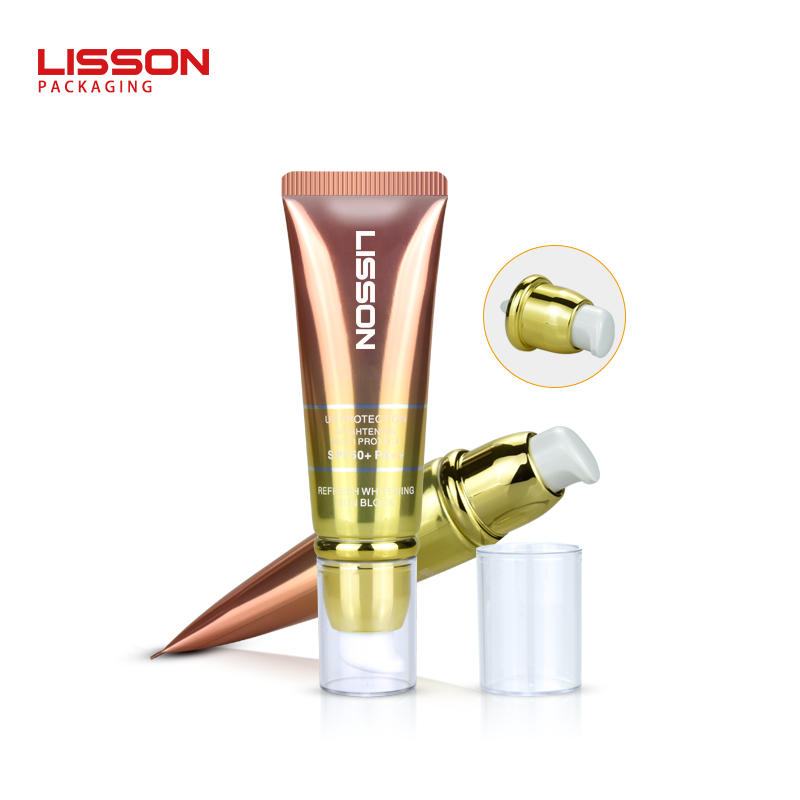 Skincare Airless Cosmetic Pump Container Cosmetic Plastic Tube Packaging With Airless Pump Head
