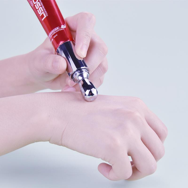 30ml empty custom skincare vibration eye cream tube packaging with special design roller applicator