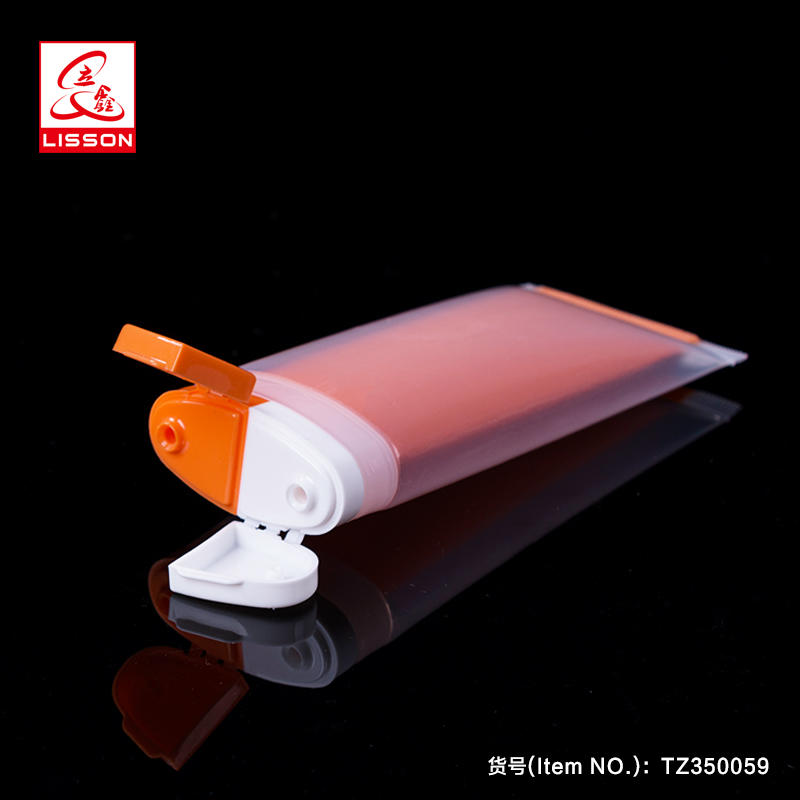 Plastic Oval Double Tube Dual Chamber Tube For Sunscreen Cream Day And Night Cream With Double Hole Flip Top Cap