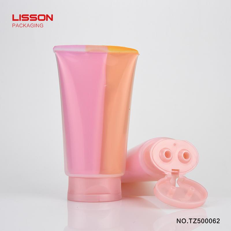 180ml flat Dual chamber PE plastic cosmetic tubes packaging