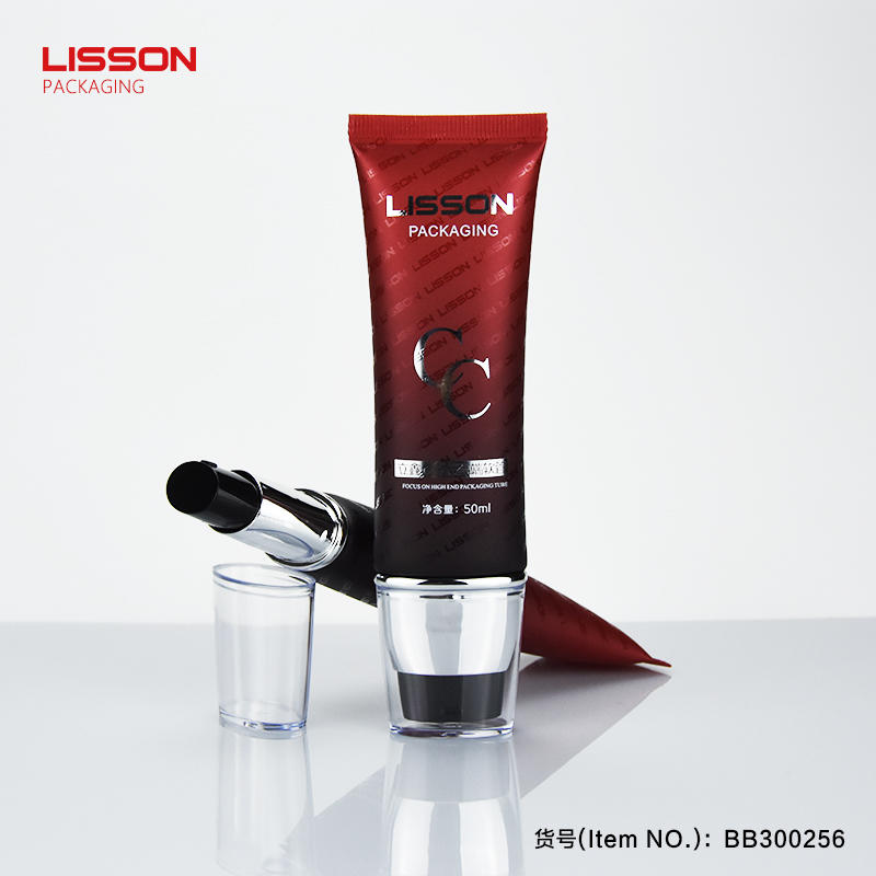 airless pump sunscreen cream cosmetic plastic tube packaging with high transparent cap