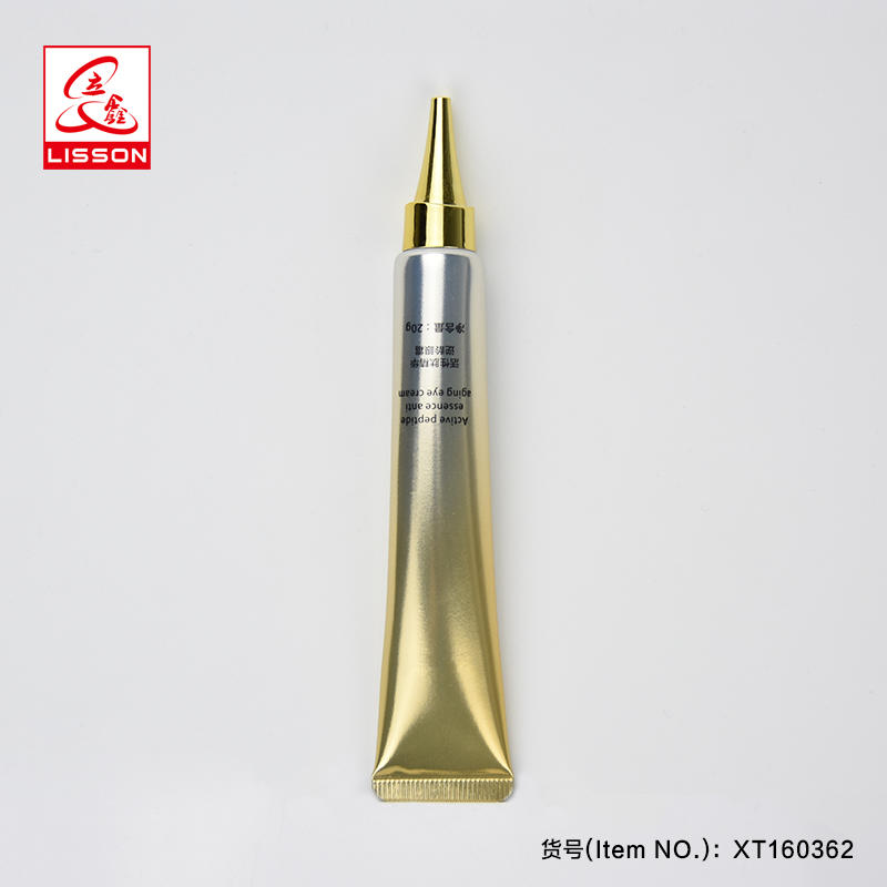 Gold Color Long Nozzle Cosmetic Tube Packaging With Long Nozzle Gold Color Screw Cap