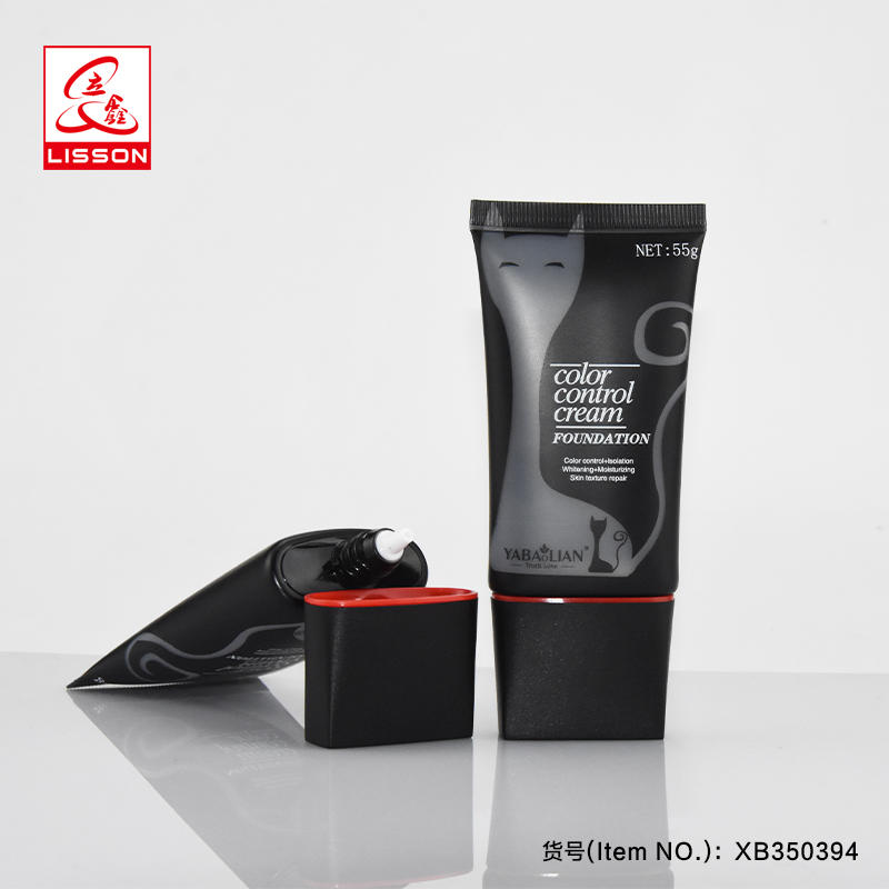 55ml empty plastic flat sunscreen cream tubes with screw cap for BB cream