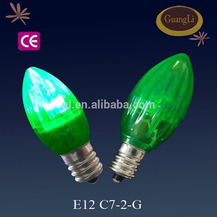 Christmas night light olive shape E12 E14 led light color bulbs C7 - 2 colorful 4 pcs LED