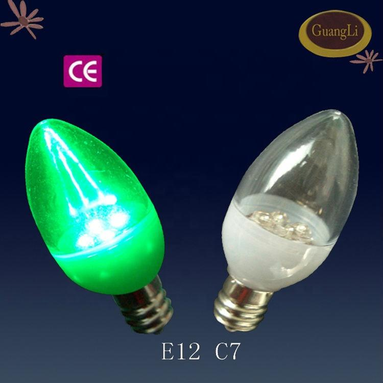 CE approved E12 E14 Caliber plastic night LED bulb C7 white light or warm light Transparent lampshade