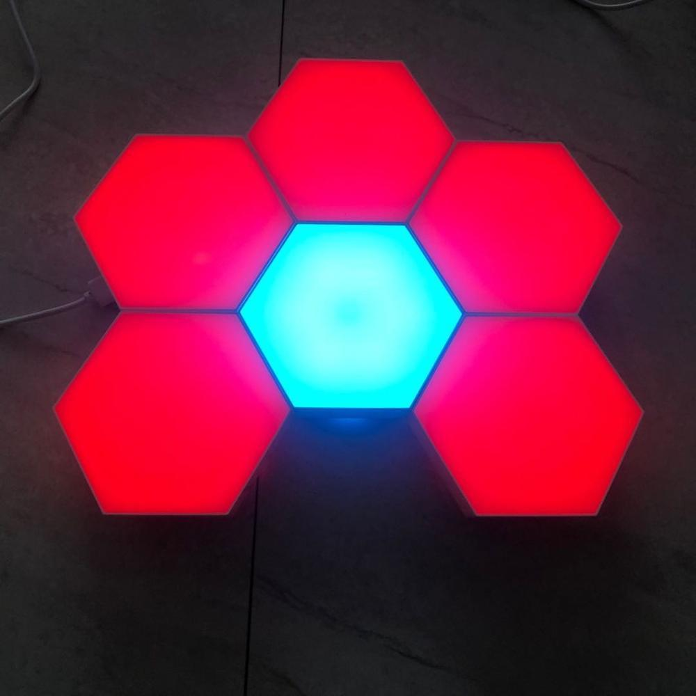 Multi-colors hand touch sensing modular night light hexagonal black family quantum honeycomb induction wall lamp