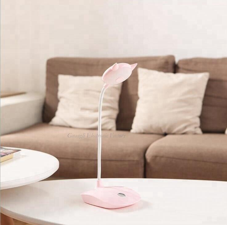 Touch sensor reading LED table lamp with USB and battery type for desk