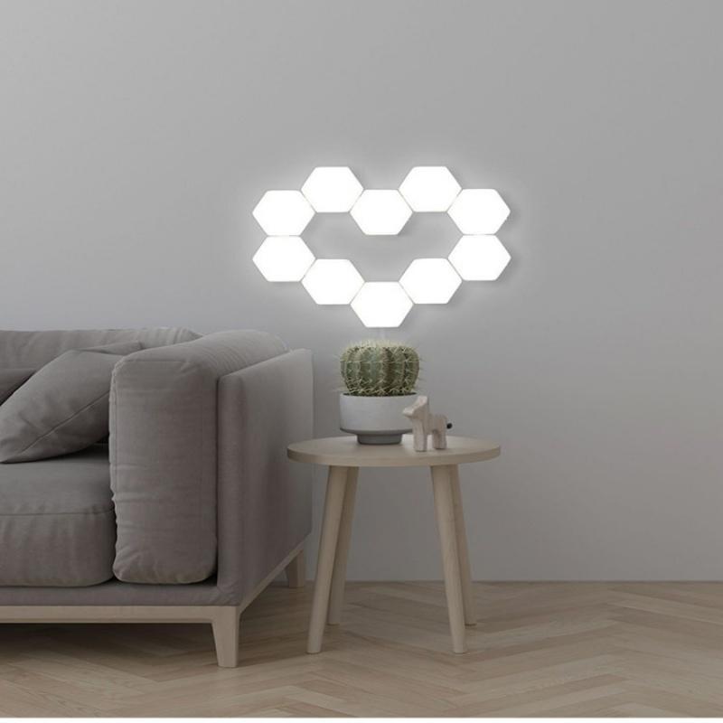 5 pcs per sets splice hand touch bright modular night light hexagonal black family quantum lamp honeycomb induction wall lamp